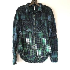 Free People ombré patchwork flannel button down